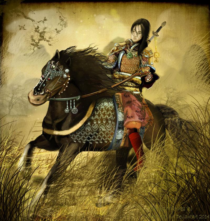 Mulan riding to war